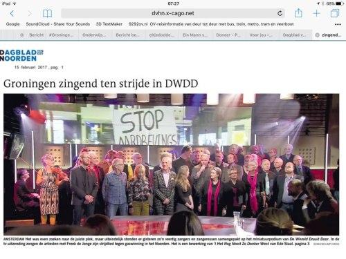 Optreden van Groninger artiesten bij DWDD.
